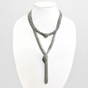 Jewelry - Silver Cluster Chain Knot Double Layer Necklace